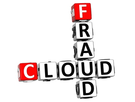 3D Fraud Cloud Crossword on white background photo