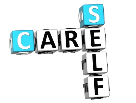 3D Care Self Crossword on white background photo
