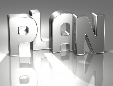 3D Word Plan on silver background Stock Photo - 17099958