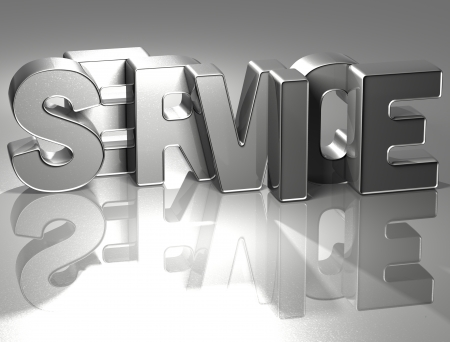 silver service: 3D Word Service on silver background Stock Photo