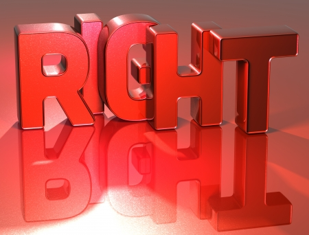 3D Word Right on red background photo