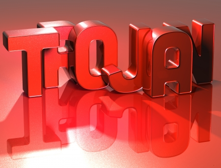 3D Word Trojan on red background Stock Photo - 17122122
