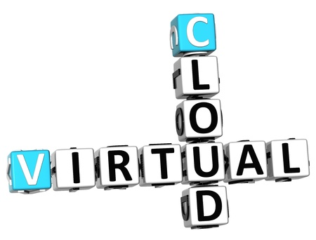 3D Cloud Virtual Crossword on white background photo