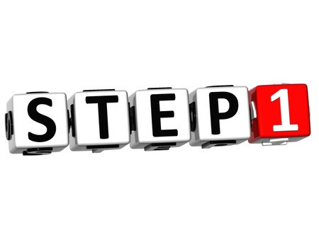 quiz test: 3D Step Button Click Here Block Text over white background