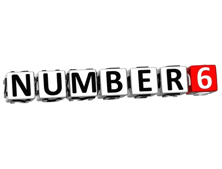 3D Number Button Click Here Block Text over white background photo