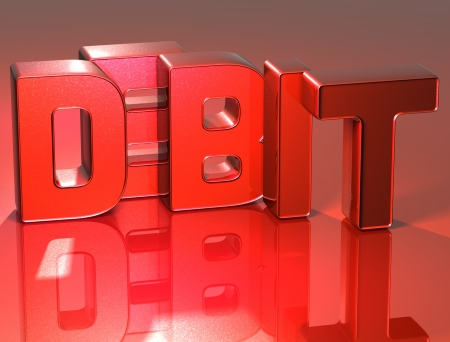 3D Word Debit on red background photo
