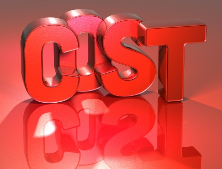 3D Word Cost on red background photo