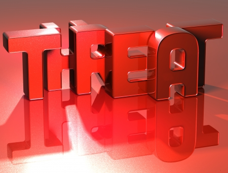 3D Word Threat on red background Stock Photo - 17127746