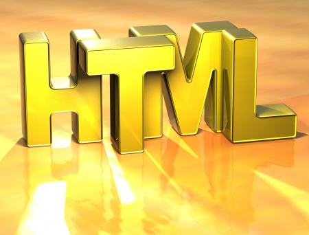 3D Word HTML on yellow background Stock Photo - 17127744