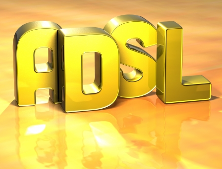adsl: 3D Word ADSL on yellow background Stock Photo