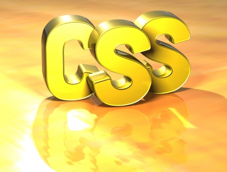 3D Word CSS on yellow background photo