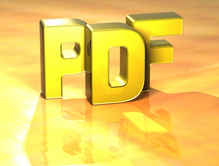 3D Word PDF on yellow background Stock Photo - 17127730