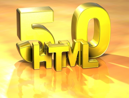 3D Word HTML on yellow background photo