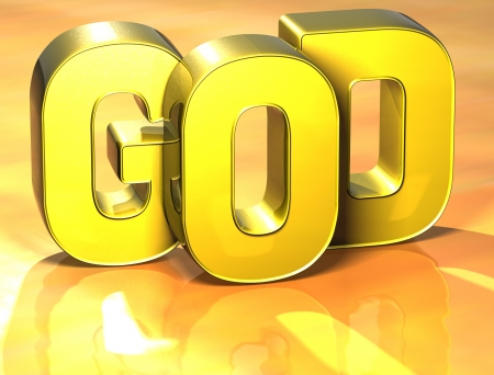 word of god: 3D Word God on yellow background Stock Photo