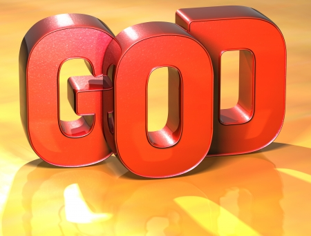3D Word God on yellow background photo