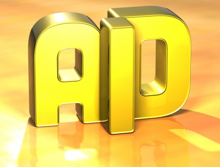 3D Word Aid on yellow background photo