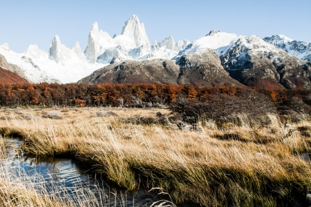 campo de hielo sur: Beautiful nature landscape with Mt. Fitz Roy as seen in Los Glaciares National Park, Patagonia, Argentina  ( HDR image ) Stock Photo