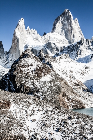 los glaciares: Natura, paesaggio, bella con Monte. Fitz Roy come si ? visto nel Parco Nazionale Los Glaciares, Patagonia, Argentina (immagine HDR)