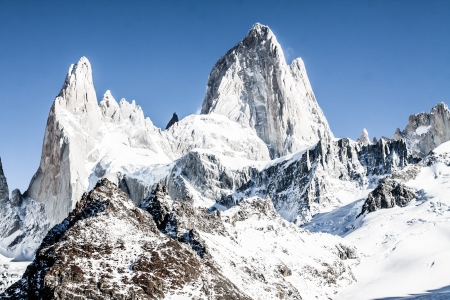 los glaciares: Natura, paesaggio, bella con Monte. Fitz Roy come si � visto nel Parco Nazionale Los Glaciares, Patagonia, Argentina (immagine HDR)