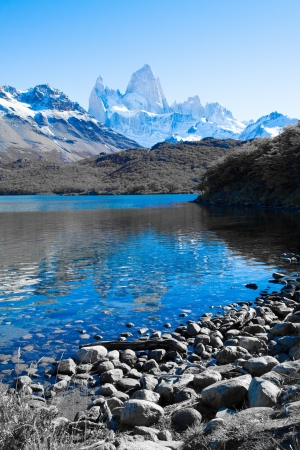 el chalten: Beautiful nature landscape with Mt. Fitz Roy as seen in Los Glaciares National Park, Patagonia, Argentina  ( HDR image ) Stock Photo