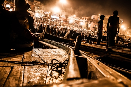 conducts: An unidentified Hindu priest conducts religious Ganga Aarti ritual  Editorial