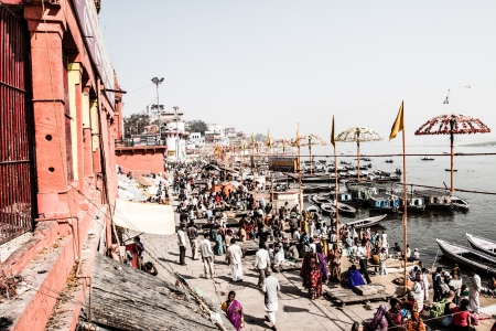 benares: Famous river Ganges and building around Varanasi, India ( HDR image )