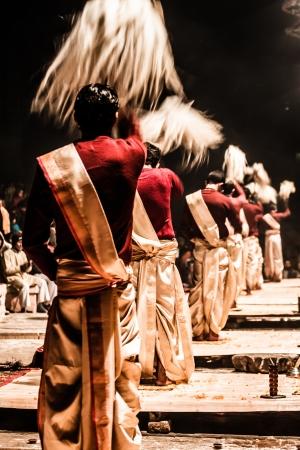 An unidentified Hindu priest conducts religious Ganga Aarti ritual Stock Photo - 17169708