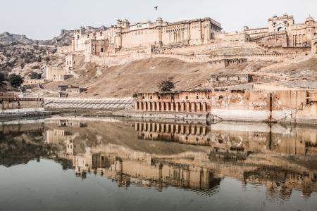 jagmandir: Beautiful Amber Fort near Jaipur city in India. Rajasthan ( HDR image )
