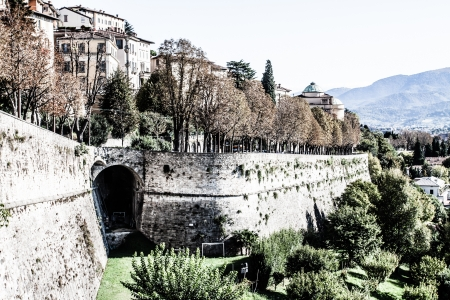 Bergamo, Citta Alta, Lombardy, Italy, from via San Vigilio on a sunny spring afternoon.( HDR image ) Stock Photo - 17215069