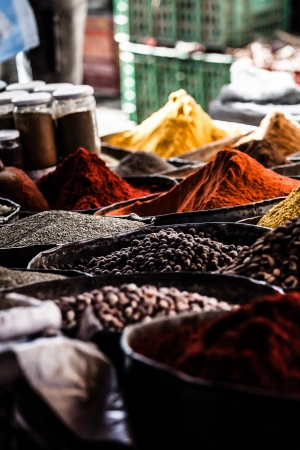 dried herbs flowers spices in the Marrakesh street shop, shallow dof   photo