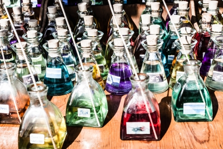 Perfume in drugstore or shop for testing ( HDR image ) photo