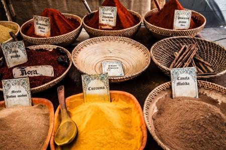 Colorful tika powders on indian market, India , Asia  ( HDR image ) photo
