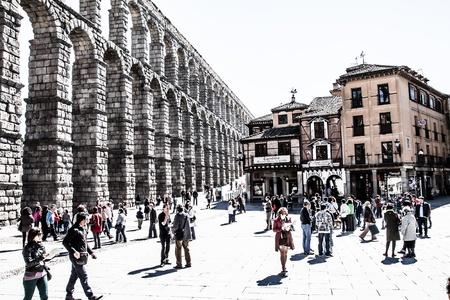 The famous ancient aqueduct in Segovia, Castilla y Leon, Spain ( HDR image ) Stock Photo - 17356499