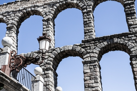 acueducto: The famous ancient aqueduct in Segovia, Castilla y Leon, Spain ( HDR image ) Stock Photo