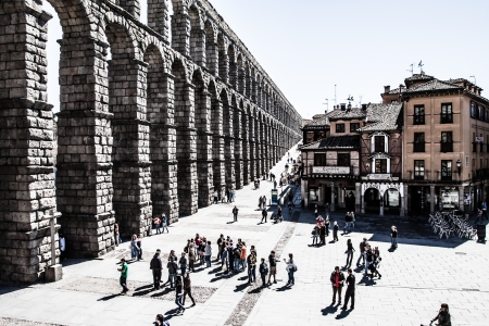 The famous ancient aqueduct in Segovia, Castilla y Leon, Spain ( HDR image ) Stock Photo - 17356501