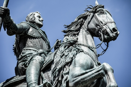 carlos: The monument of Charles III on Puerta del Sol in Madrid, Spain ( HDR image )