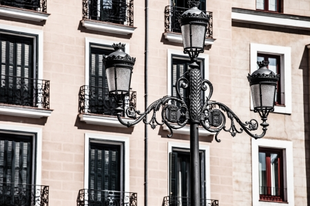 Mediterranean architecture in Spain. Old apartment building in Madrid.  ( HDR image ) photo