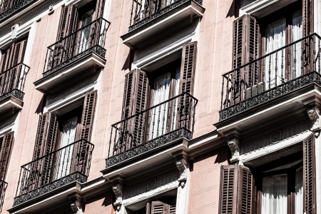 Mediterranean architecture in Spain. Old apartment building in Madrid.  ( HDR image ) Stock Photo - 17410193
