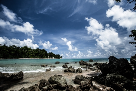 andaman: Neil Island beach and blue sky with white clouds, Andaman islands - India