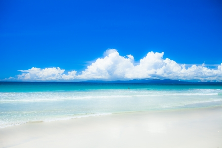 sea scenery: Landscape photo of tranquil island beach  Stock Photo