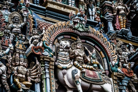 Details of Meenakshi Temple - one of the biggest and oldest temple in Madurai, India.  photo