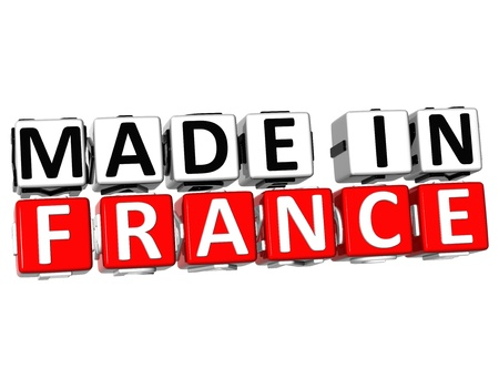 3D Made in France button over white background photo