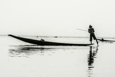 inle: Fisherman in inle lake, Myanmar.  Stock Photo