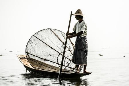 inle: Fisherman in inle lake, Myanmar.  Editorial