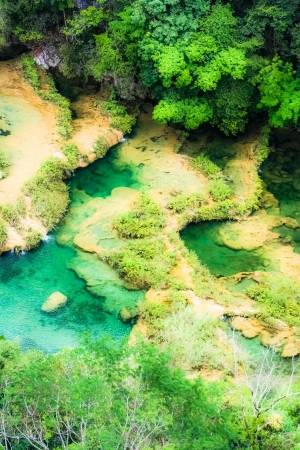 arial view: Beautiful arial view of turquoise waterfalls Semuc Champey in guatemala
