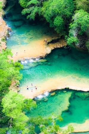 Beautiful arial view of turquoise waterfalls Semuc Champey in guatemala