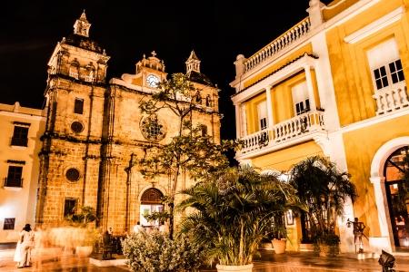 colonial building: Cartagena de Indias at night, Colombia Stock Photo