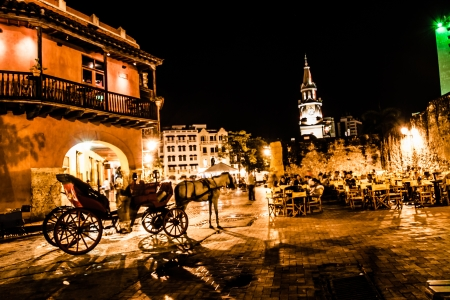 Cartagena de Indias at night, Colombia Stock Photo