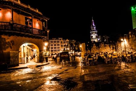 Cartagena de Indias at night, Colombia Stock Photo