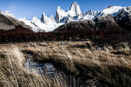 cerro fitzroy: Nature landscape with Mt. Fitz Roy in Los Glaciares National Park, Patagonia, Argentina ( HDR image ) Stock Photo